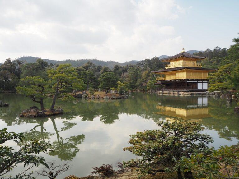鏡湖池と金閣の姿